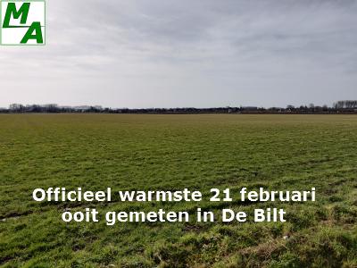 Officieel warmste 21 februari ooit gemeten in De Bilt