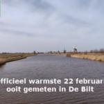 Officieel warmste 22 februari ooit gemeten in De Bilt