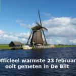 Officieel warmste 23 februari ooit gemeten in De Bilt