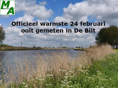 Officieel warmste 24 februari ooit gemeten in De Bilt