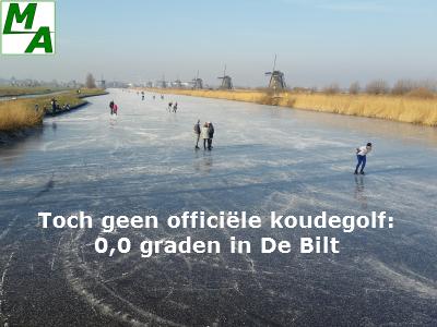 Toch geen officiële koudegolf 0,0 graden in De Bilt